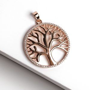 18K Gold Cubic Zirconia Tree Of Life Pendant