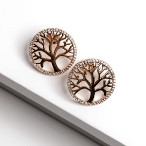 18K Gold Tree Of Life Stud Earrings