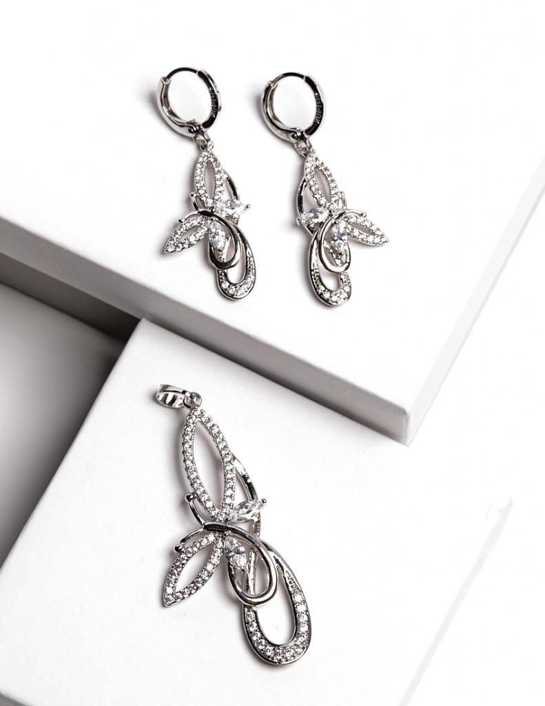Callel Luxury Silver Butterfly Earrings and Pendant Set