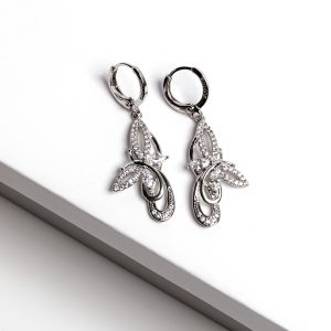 Silver Cubic Zirconia Butterfly Earrings and Pendant Set