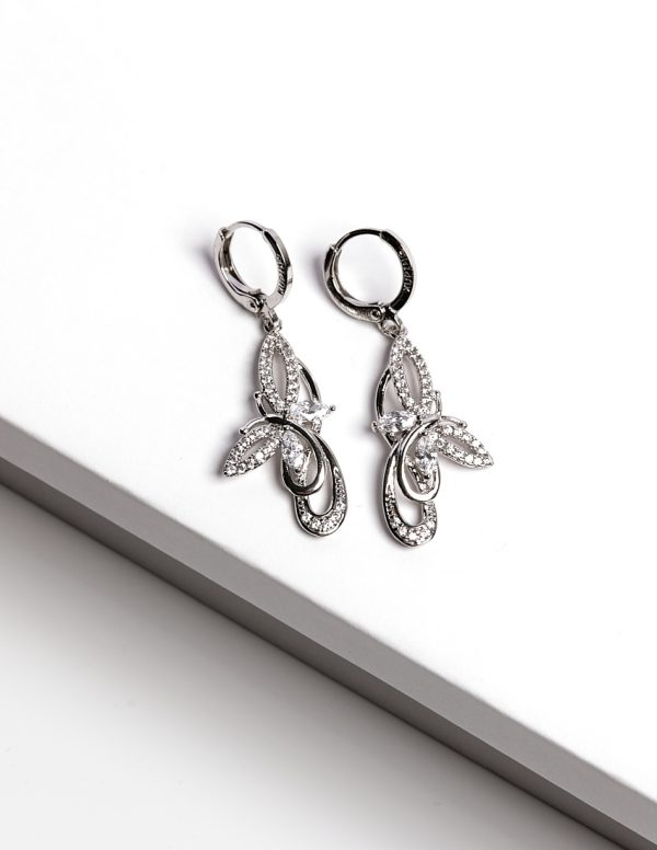 Callel Silver Cz Butterfly Earrings And Pendant Set