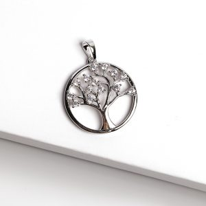 Silver Cubic Zirconia Tree Of Life Pendant