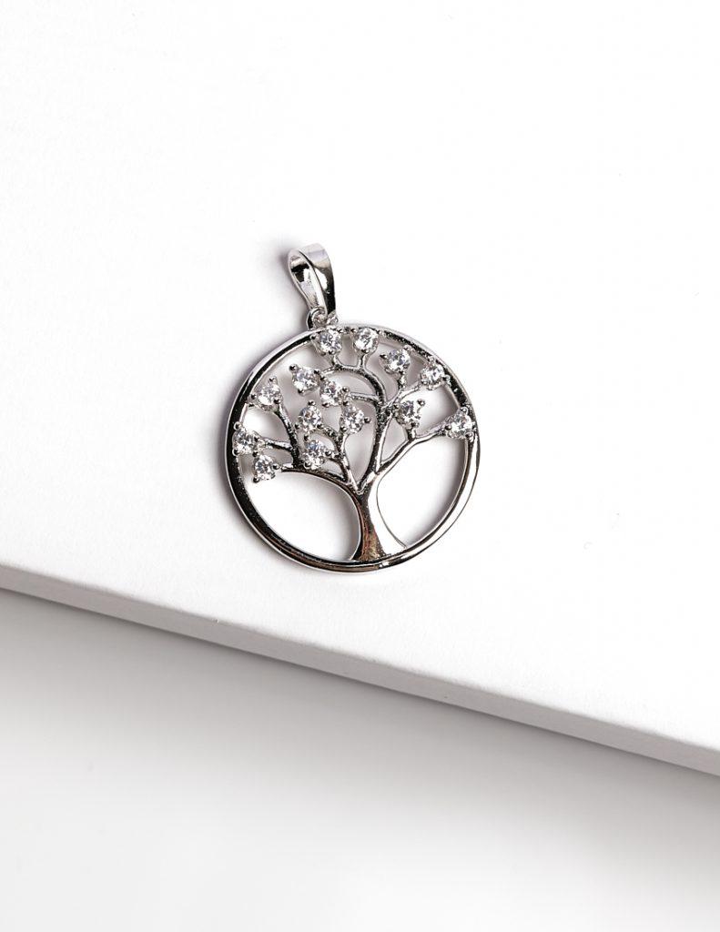 Callel Silver Cubic Zirconia Tree Of Life Pendant