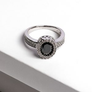 Luxury Black Cubic Zirconia Crystal Silver Ring