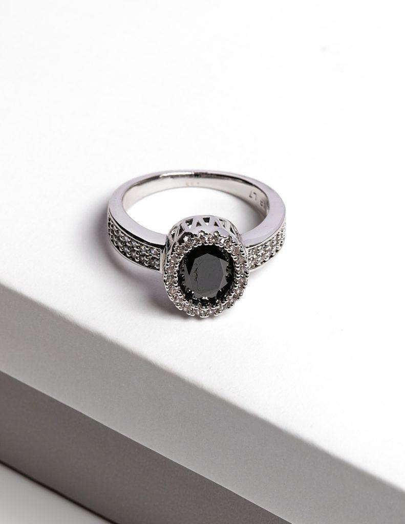 Callel Luxury Black Cubic Zirconia Crystal Silver Ring