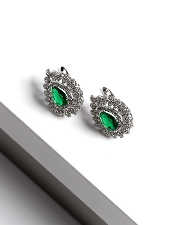 Callel Silver Pear Cut Green Cubic Zirconia Latch Back Earrings