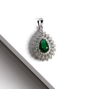 Silver Pear Cut Green Cubic Zirconia Pendant