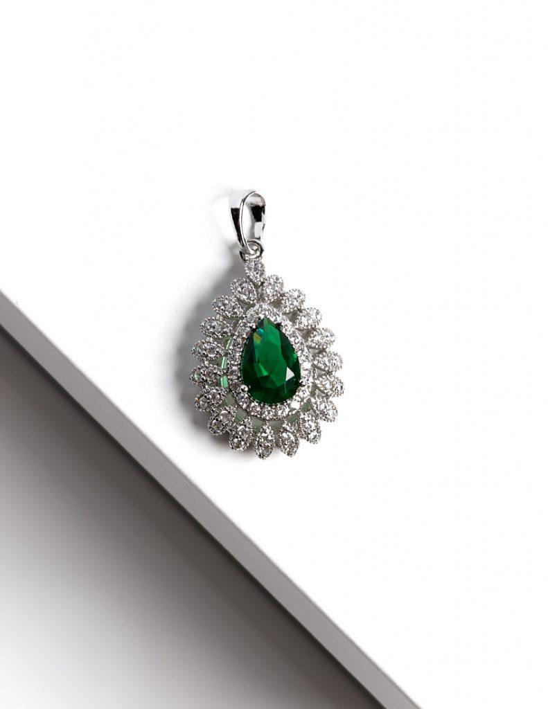 Callel Silver Pear Cut Green Cubic Zirconia Pendant