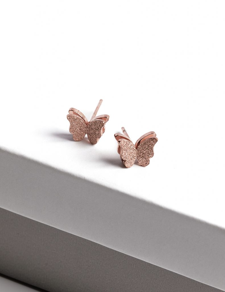 Callel Rose Gold Butterfly Earrings