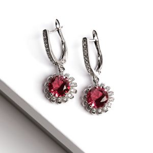 Floral Ruby Latch Back Dangle Earrings