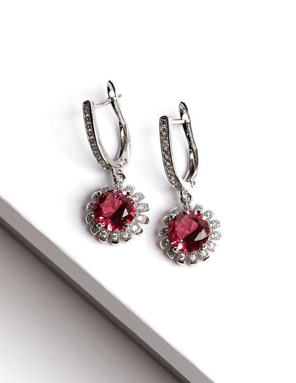 Callel Floral Ruby Latch Back Dangle Earrings