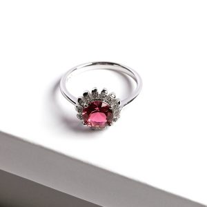 Floral Ruby Silver Ring