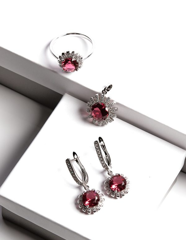 Callel Floral Ruby Jewellery Set