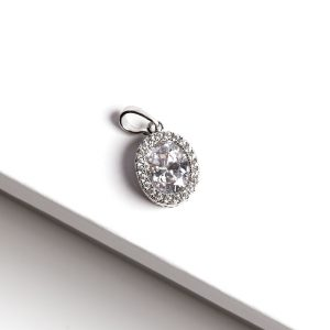 Silver Oval Cubic Zirconia Pendant