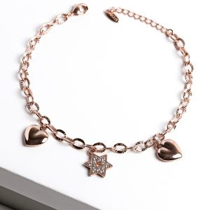 18K Gold Hearts & Star Charm Bracelet