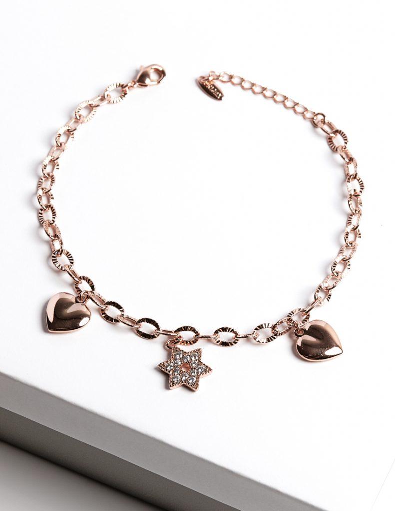 Callel 18K Gold Color Hearts & Star Charm Bracelet