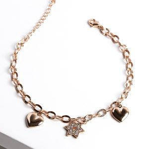 Rose Gold Hearts & Star Charm Bracelet