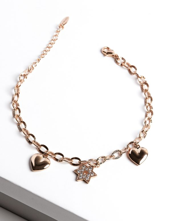 Callel Rose Gold Color Star Charm Bracelet