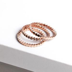 Rose Gold Slim Sparkle Ring 3Pcs Set