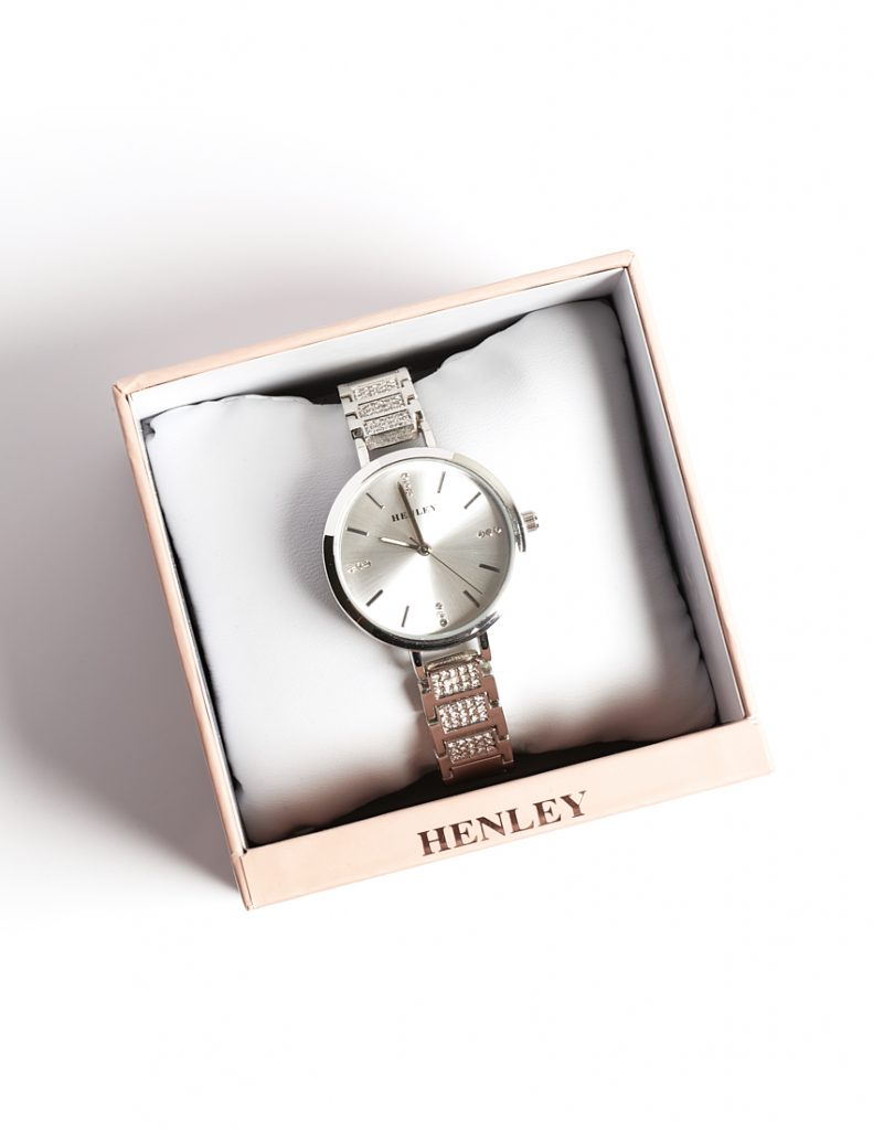 Callel Henley Stainless Steel Silver Crystal Dial Womens Watch