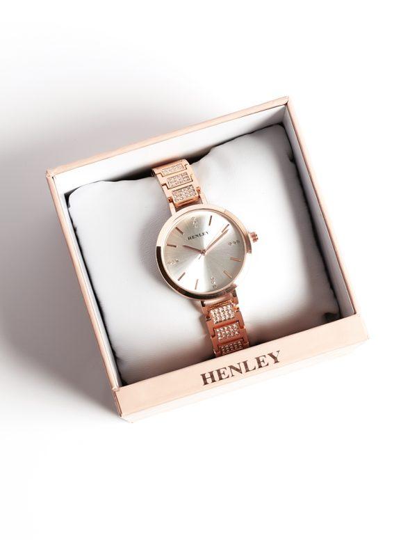 Callel Henley Encrusted Bracelet Watch Rose Gold Tone
