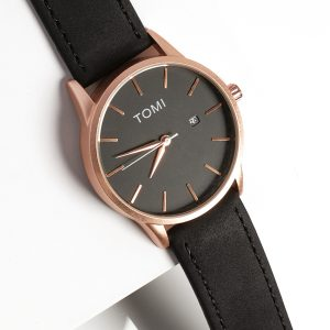 Tomi Classic Black and Rose Gold Mens Watch