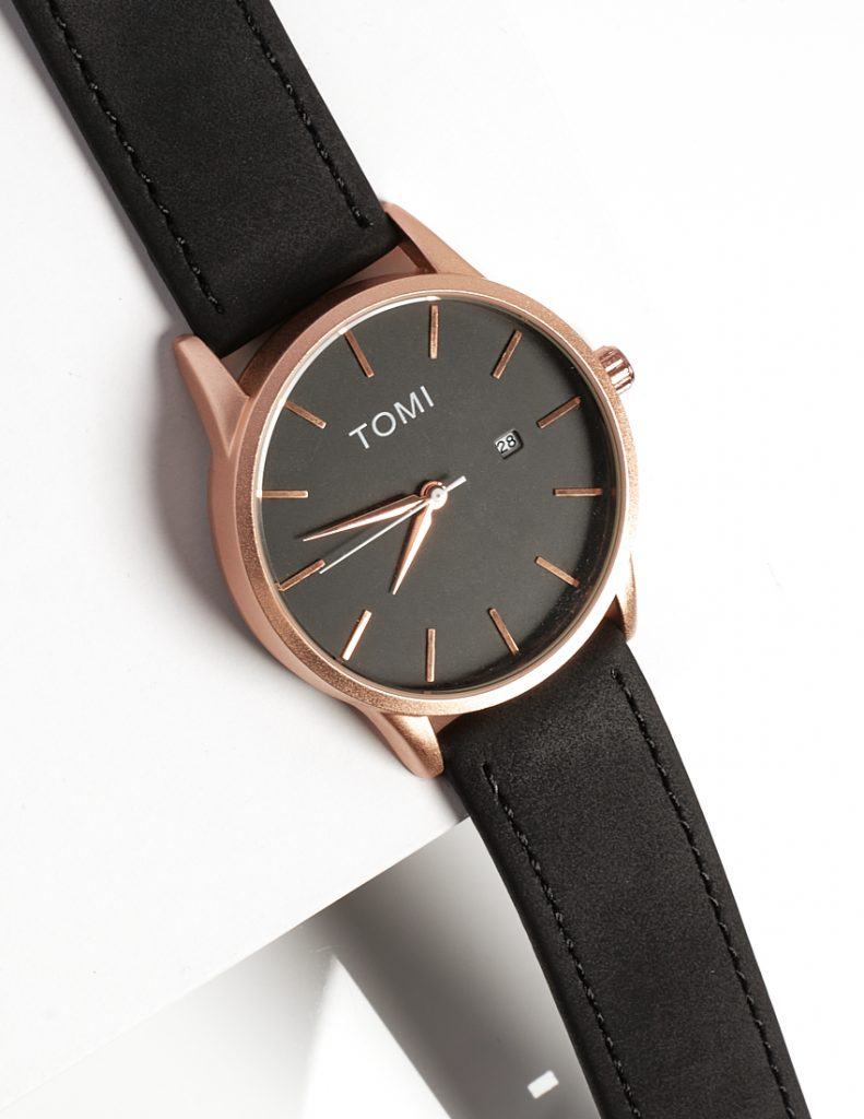 Callel Tomi Classic Black and Rose Gold Mens Watch