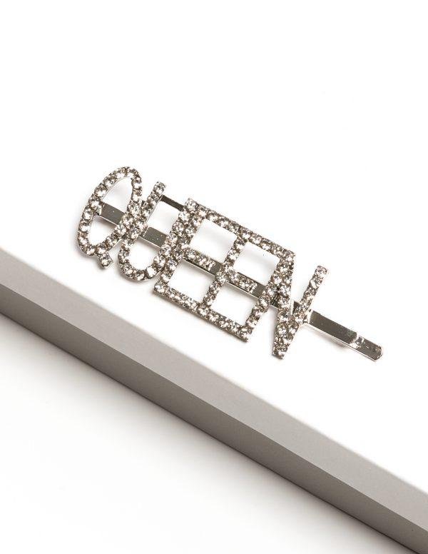 Callel Silver Diamante Queen Slogan Hair Slide