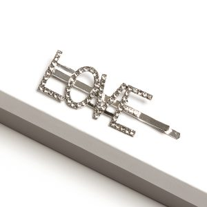 Silver Diamante Love Slogan Hair Slide