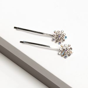 Silver & Diamante Flower Hair Slides Set