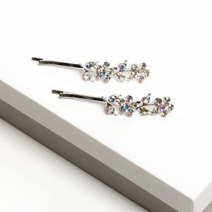 Silver Ab Flower Crystal Hair Slide Set
