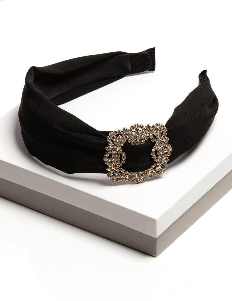 Callel Black Crystal Buckle Headband
