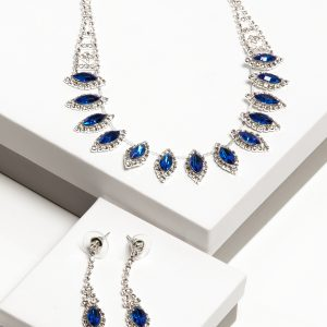Blue Cubic Zirconia Crystal Earrings & Necklace Oval Costume Jewellery Set