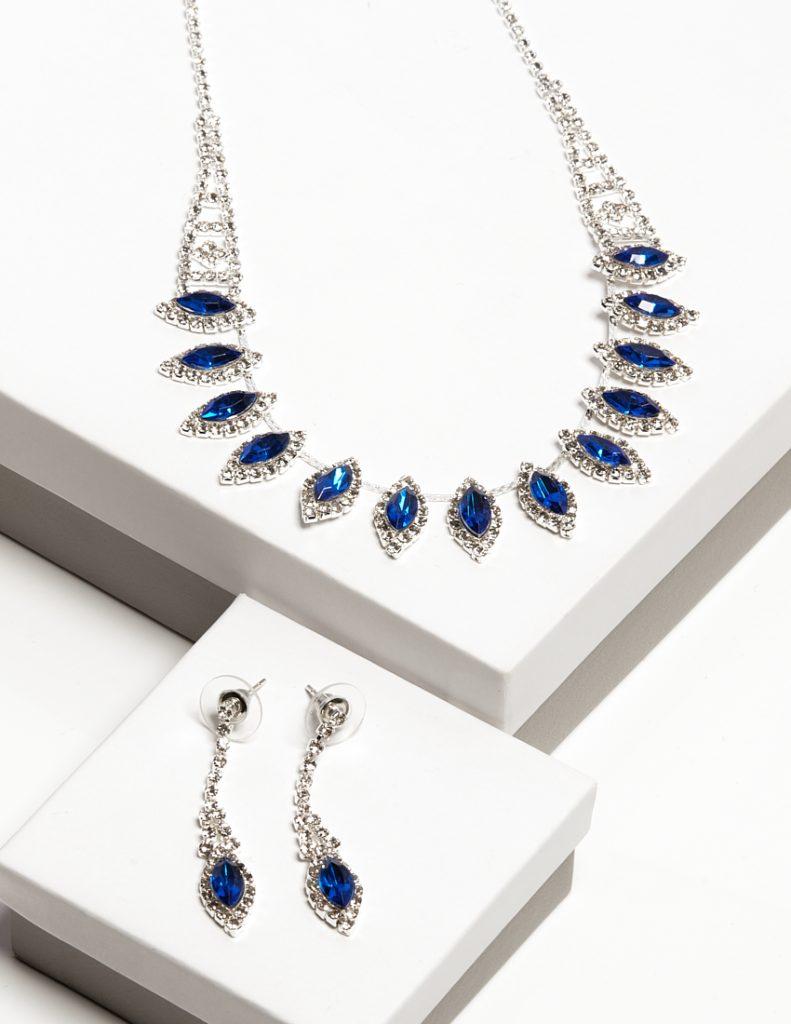 Callel Blue Crystal Earrings & Necklace Jewellery Set