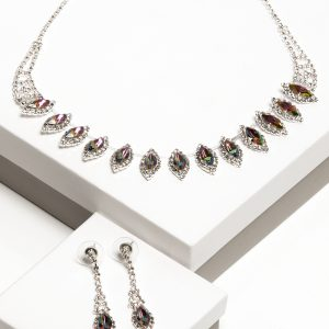 Callel Multicoloured Crystal Earrings & Necklace Jewellery Set