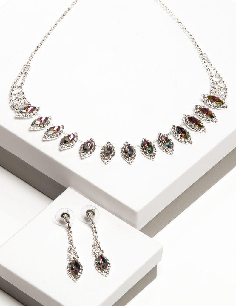 Callel Multicoloured Crystal Earrings & Necklace Jewellery Set
