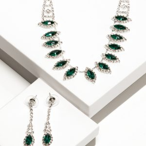 Green Cubic Zirconia Crystal Earrings & Necklace Jewellery Set