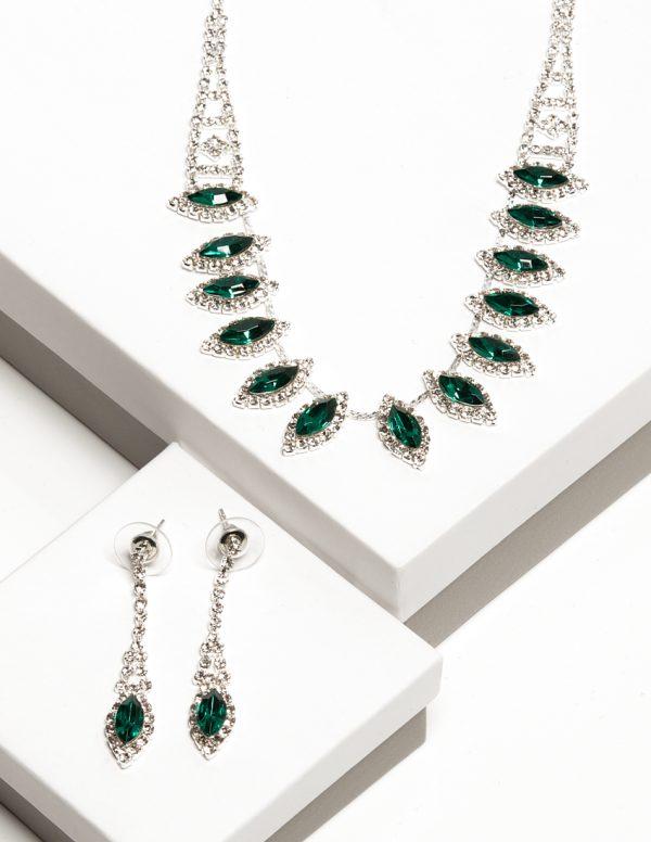 Callel Cz Crystal Earrings & Necklace Jewellery Set