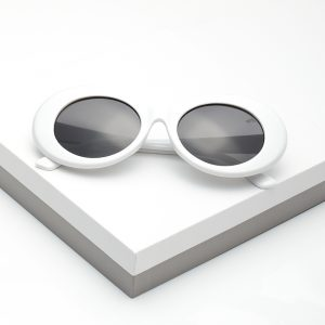 Retro White Goggles Round Oval Sunglasses