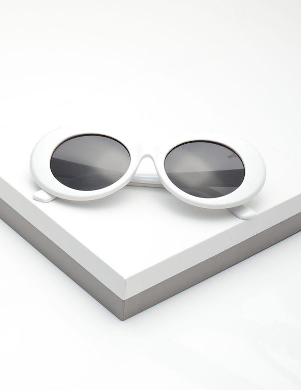 Callel Retro White Goggles Round Oval Sunglasses