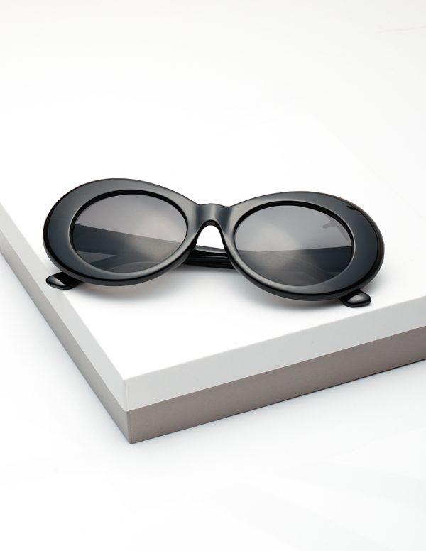 Callel Retro Black Goggles Round Oval Sunglasses