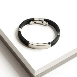 Stainless Steel Ruber Cuff Bangle Bracelet
