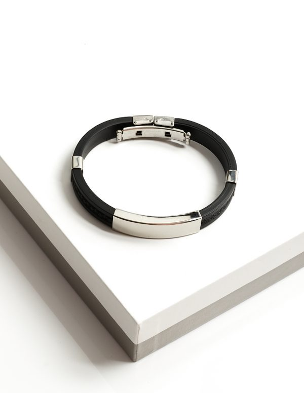 Callel Stainless Steel Ruber Cuff Bangle Bracelet