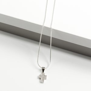 925 Sterling Silver Clear Cubic Zirconia Cross Pendant Necklace