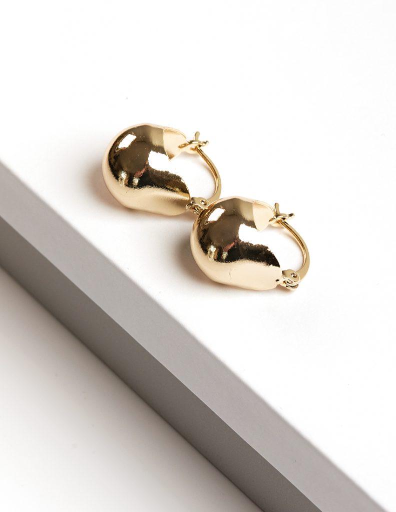 Callel 14K Gold Color Basket Style Creole Earrings