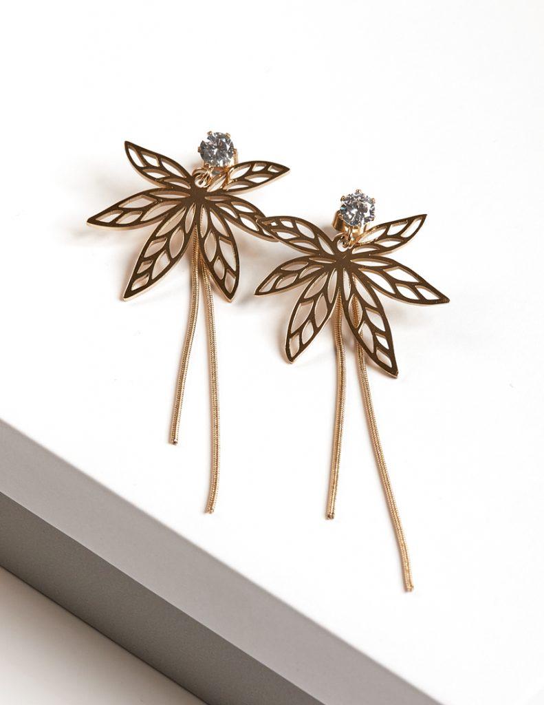 Callel 14K Gold Color Leaf Drop Dangle Earrings
