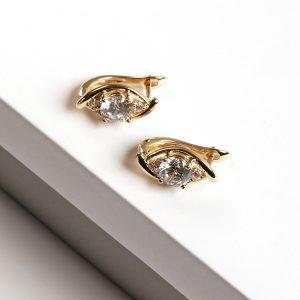 14K Gold Cubic Zirconia Marquise Cut Latch Back Earrings