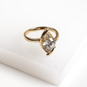 14K Gold Cubic Zirconia Marquise Cut Ring
