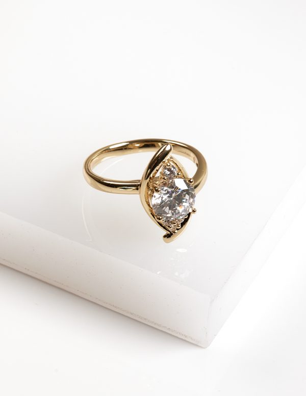 Callel 14K Gold Color Cubic Zirconia Marquise Cut Ring