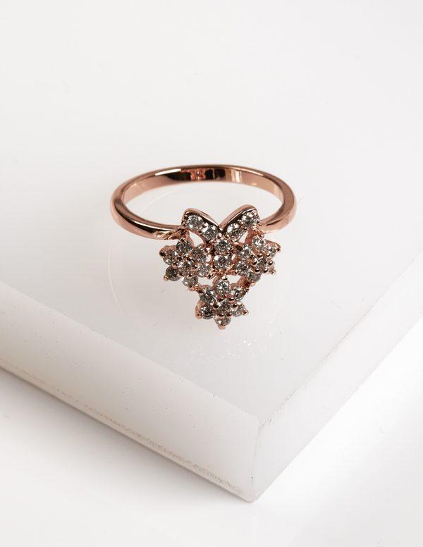 Callel Rose Gold Flower Cubic Zirconia Ring